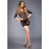 Черное прозрачное платье с длинным рукавом и кружевным узором, 04513SL