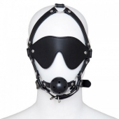 Черная маска с кляпом для БДСМ практик, 222402048