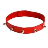 Красный кожаный ошейник с шипами, 3102-2