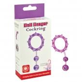 Фиолетовое кольцо с двумя шариками, 32003