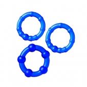 Набор синих колец для долгой эрекции, 3 шт, TPE, Ø 3,5/3/2 см, 769004-6