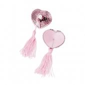 Пэстисы для груди в форме сердец с кисточками однотонные, розовые, 790014