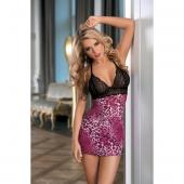 Комбинация Candy Girl с кружевным бюстом и розово-черные стринги, 840031