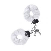 Белые мягкие меховые наручники для разнообразия в сексуальных отношениях, 951027