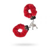 Красные наручники меховые, 951028