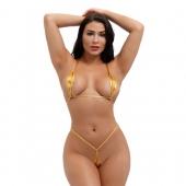 Сексуальное микро бикини для раскрепощенных девушек, золотой цвет, A065