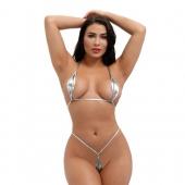 Микро бикини для шикарных сексуальных женщин, серебряный цвет, A066