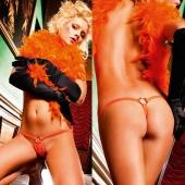 Красивые оранжевые стринги с кольцом, BL391