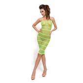 Зеленое длинное платье в сетку, BS033-G