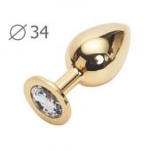 Золотая втулка анальная с прозрачным кристаллом, GM-01