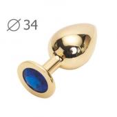 Стальное анальное украшение с синим камнем, GM-13