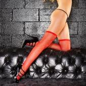 Эротические красные чулочки в мелкую сетку Red Devil, HH1-RED