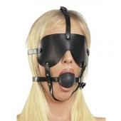 Кожаная маска-кляп на ремнях для БДСМ практик, Р3202
