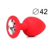 Красный анальный кляп из силикона с прозрачным стразом, SF-70602-01