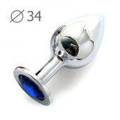 Серебряная пробка-втулка  из металла с синим стразом, SM-13