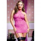 Розовое платьице-сорочка с кружевным рисунком с трусиками и подвязками, XL, STM-9506XPPNK