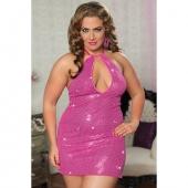 Большое сексапильное розовое платье с паетками, STM-9658PXPNK
