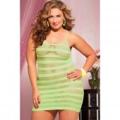 Сетчатое платье в полоску цвета лайма увеличенного размера, STM-9683XPLME